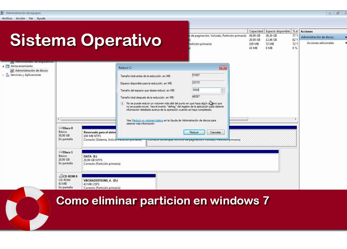 eliminar particion windows 7